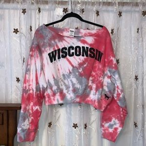 PINK Wisconsin Badgers Cropped Sweatshirt - NWT